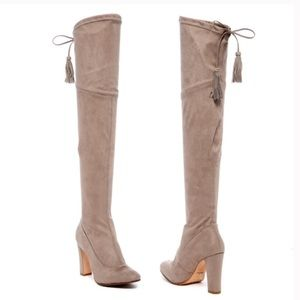 Schutz Over Knee Boots Beau Taupe Sock Boots 8.5